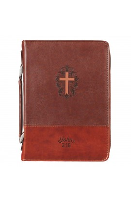 Classic Bible Cover MD Brown Cross John 3:16