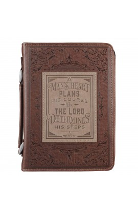 Classic Bible Cover MD Brown A Man's Heart Prov 16:9