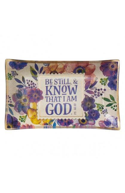 Trinket Tray Glass Be Still Purple Floral Psa 46:10