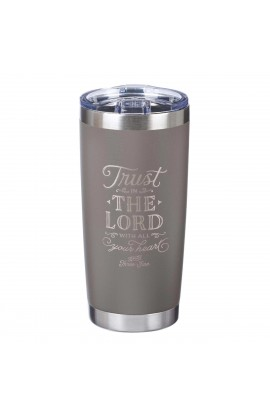 Mug SSteel Travel Gray Trust In The Lord Prov 3:5