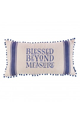 Pillow Oblong Blessed Beyond Measure Blue Stripe