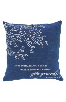 Pillow Square Give You Rest Navy Matt 11:28