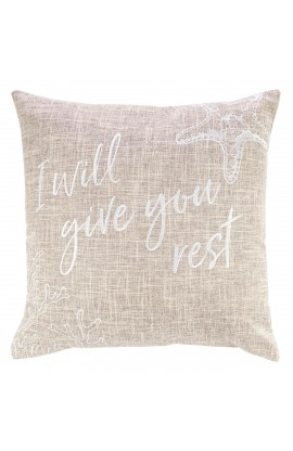 Pillow Square Give You Rest Tan Matt 11:28