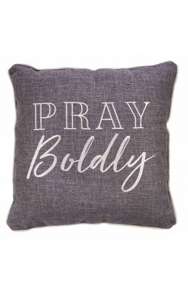 Pillow Square Pray Boldly Grey