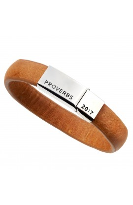 Righteous Man Leather Wrist Band Proverbs 20:7