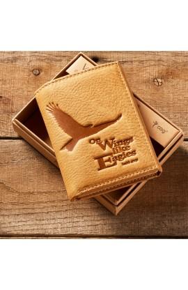 Eagle Tri-Fold in Saddle Tan - Isaiah 40:31 Leather Wallet