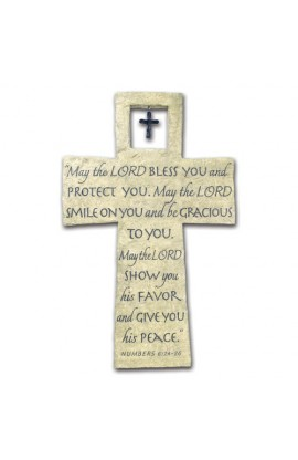 Cross Wall Cast Stone Bless You w/Cross Charm