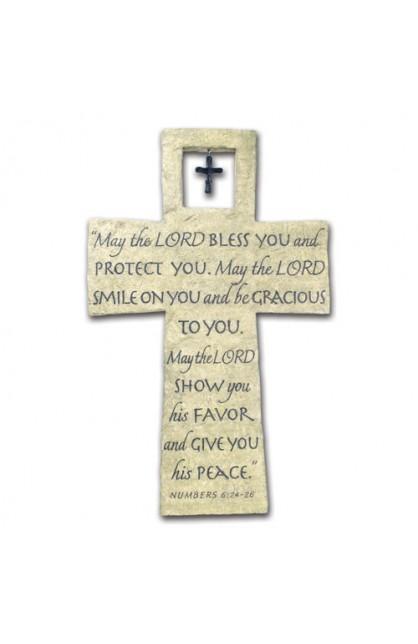 Cross Wall Cast Stone Bless You w/Cross Charm
