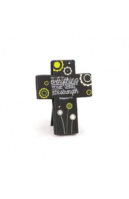 Cross Desktop Sm Metal Joy Blossoms Strength