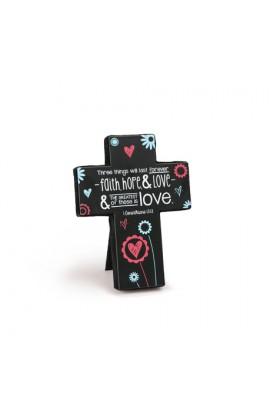 Cross Desktop Sm Metal Joy Blossoms Love