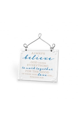 Plaque Ceramic Wire Desktop Scripture Blessings Always Believe