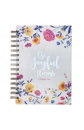 Journal Wirebound LG Floral Be Joyful