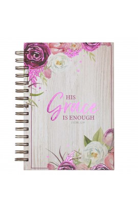 Journal Wirebound LG Burg His Grace Is Enough 2 Cor 12:9