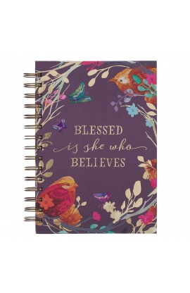 Journal Wirebound LG Purple Blessed Is She