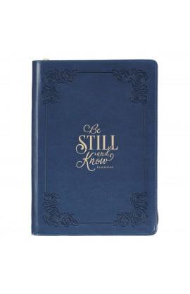 Journal Classic Zip Navy Be Still Psa 46:10