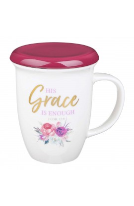 Mug Lidded Burg His Grace Is Enough 2 Cor 12:9