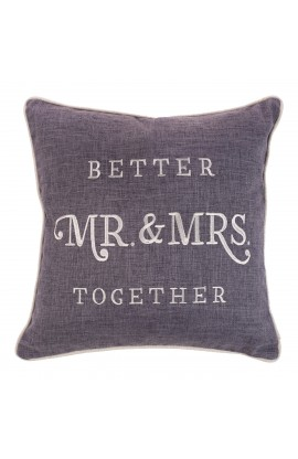 Pillow Square Mr. & Mrs. Better Together Grey