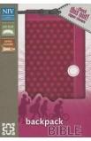 NIV, Backpack Zipper Bible, Imitation Leather, Pink, Red Letter