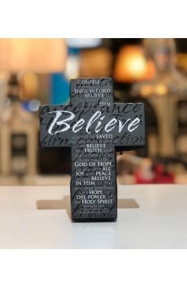 Cross Desktop Small Metal Black Message Believe