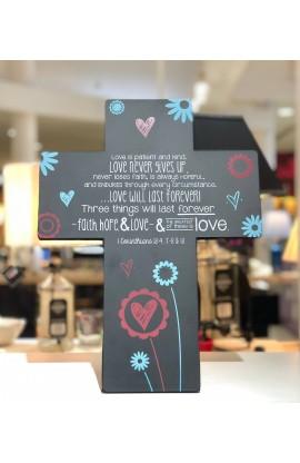Cross Desktop Wall Metal Joy Blossoms Love
