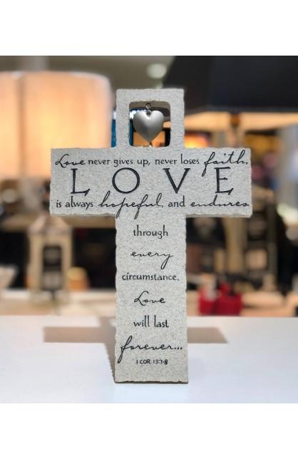 Cross Wall/Desktop Cast Stone Love Is w/Heart Charm