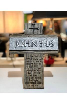 Cross Wall/Desktop Cast Stone John 3:16