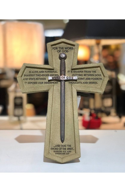 Cross Wall/Desktop Cast Stone Word of God Sword