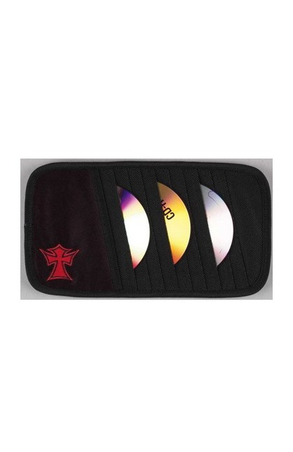 BLACK CD VISOR ORGANIZER WITH CROSS