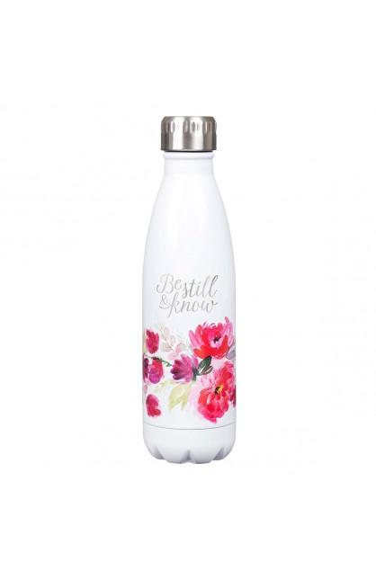Water Bottle Stainless Steel White Be Still