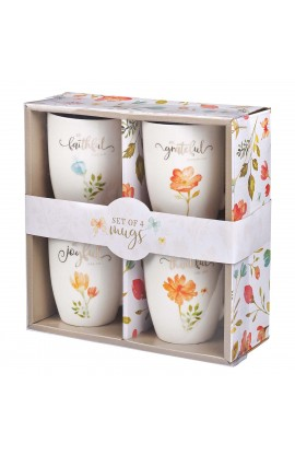 Mug Set Stoneware 4 pc Grateful Floral