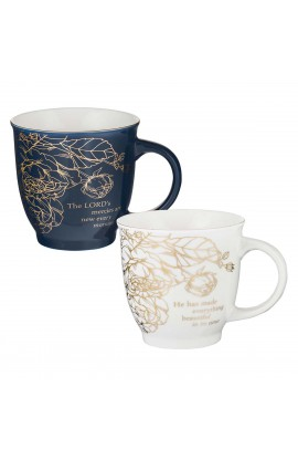 Mug Set Ceramic 2 pc Floral The Lord