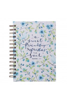 Journal Wirebound Blue Floral Sweet Friendship