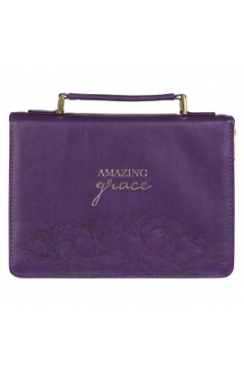 Bible Cover Purple Floral Amazing Grace
