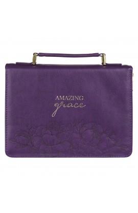 Bible Cover Purple Floral Amazing Grace