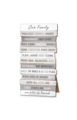 Plaque Wall Desktop MDF Stacked Wood Our Family 5 x 10