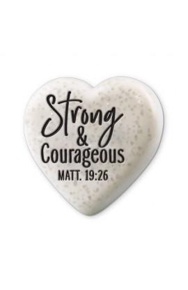 Plaque Cast Stone Sentiment Hearts Strong & Courageous