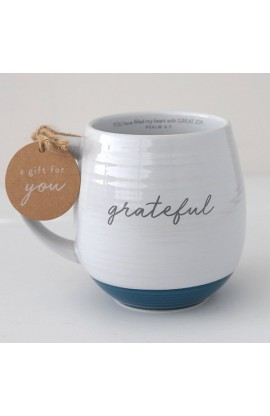 Ceramic Mug Textured White Grateful