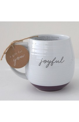 Ceramic Mug Textured White Joyful