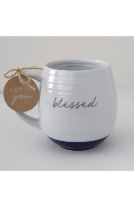 Ceramic Mug Textured White Blessed