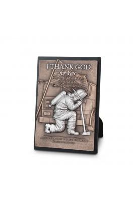 Plaque Sculpture Moments of Faith Rectangle Fireman