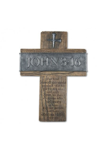 Cross Wall Cast Stone John 3:16