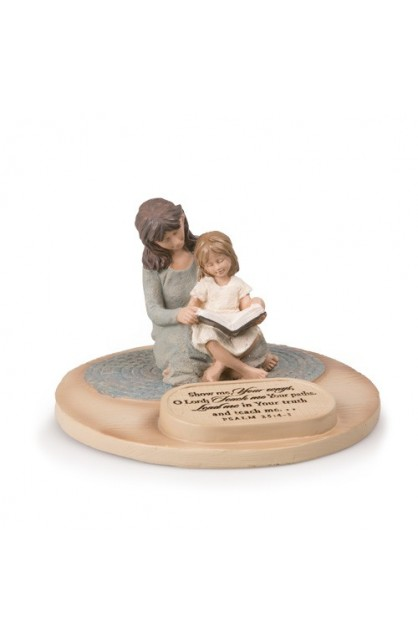 DEVOTED MOM WITH DAUGHTER SCULPTURE