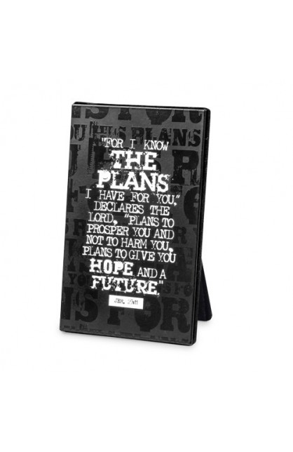 FOR I KNOW THE PLANS BLACK BLOCK PLAQUE