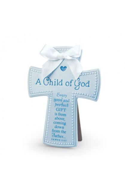 A CHILD OF GOD BLUE CERAMIC CROSS