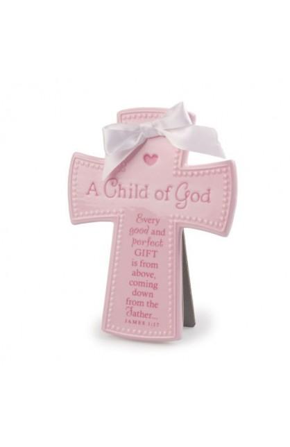 A CHILD OF GOD PINK CERAMIC CROSS