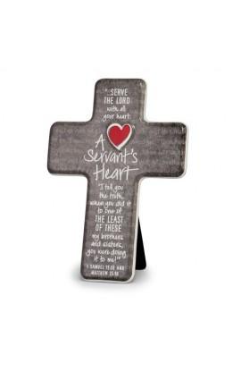A SERVANT'S HEART CERAMIC DESKTOP CROSS