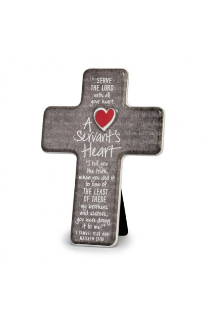 A SERVANT'S HEART CERAMIC DESKTOP CROSS