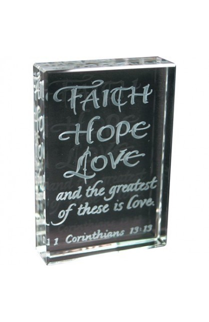 FAITH HOPE LOVE ETCHED GLASS