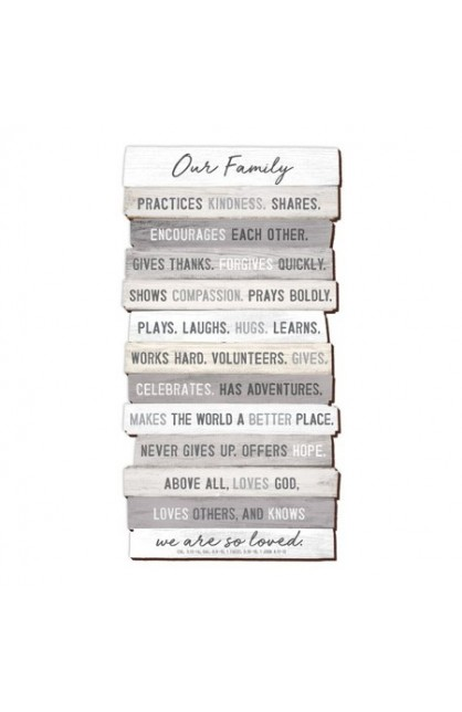 """Plaque Wall Desktop MDF Stacked Wood Our Family 16.25"""" x 29"""""""