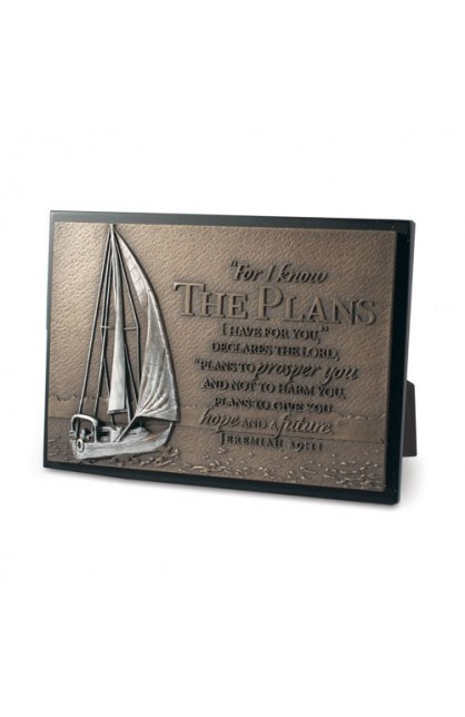 Plaque Sculpture Moments of Faith Rectangle Sailboat